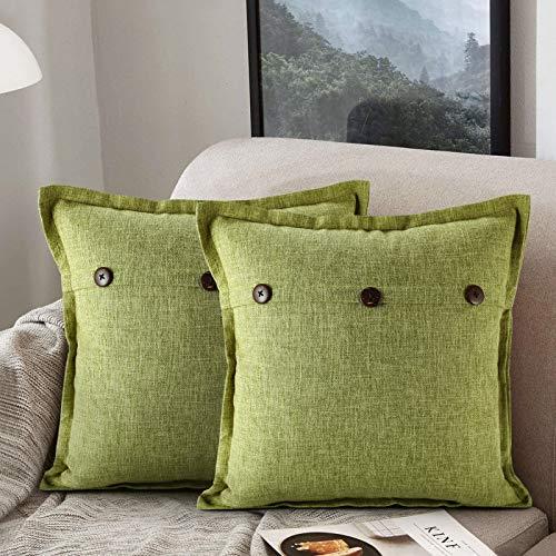 ETOLISHOP Set di 2 Federe per Cuscini 45 x 45 cm in Cotone e Lino Stile Vintage Agricoltura Verde Cuscini Decorativi 45 cm x 45 cm Confezione da 2 per Divano Soggiorno