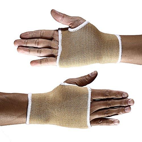 Handgelenkbandage (2 Stück), Mittelgroße Druck-Bandage mit Daumen-, Handinnenflächen-, Karpaltunnel-Klammern und Schienen, lindert Sehnenentzündungen, Arthritis, beige