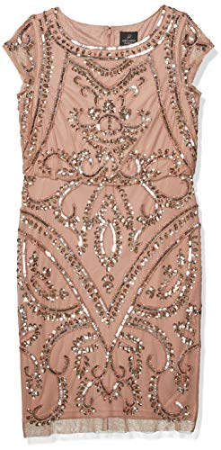 Adrianna Papell Women's BEADED BLOUSON SHEATH DRESS, ROSE GOLD, 14 (Apparel)
