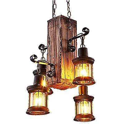 Industrial Vintage Wooden Hanging Pendant Light Retro Loft Lantern Chandelier 4 Lights Suspension Lighting Fixture for Coffee Shop Restaurant (4)