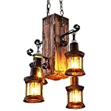 Industrial Vintage Wooden Hanging Pendant Light Retro Loft Lantern Chandelier 4 Lights Suspension Lighting Fixture for Coffee Shop Restaurant