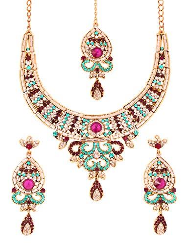 Touchstone Parure di gioielli da sposa indiani bollywood rajwada blu viola bianco ss per donna Multicolore