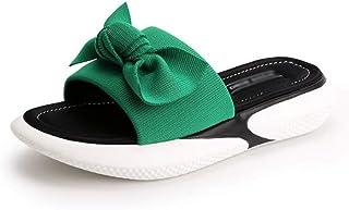 XL_nsxiezi Zapatillas con Fondo de Panecillo para Mujer Sandalias de Lazo Gruesas
