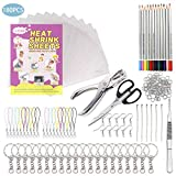 180 PCS Shrink Plastic dink Sheets Kit, Frosted Shrinky sheets, Include 10PCS Blank Shrink Sheets, Colored Pencils, Hole Punch, Scissors, Tweezers, Keychains, Colored Lobster Clasp for Kids DIY Craft