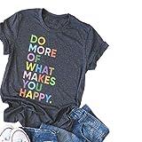 DORFALNE Women's Fun Happy Graphic Tees Summer Cute Round Neck Short Sleeve Letter Printed T-Shirts Dark Grey