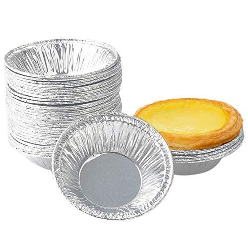 200pcs Huevo Tarta Molde, Desechables Tazas de Papel de Aluminio para Hornear Muffin Cupcake Huevo Tarta, Redondo Bandejas Aluminio para Tartas pequeñas, mermeladas y Pasteles