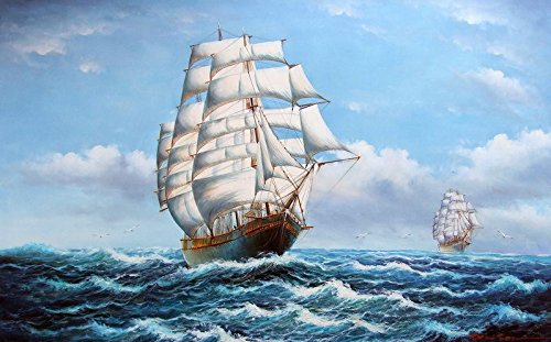 Yeesam Art Smooth Sailing Boat Seagull + + 100% Handmade Landscape dipinto a olio su tela astratto e immagine Modern Contemporary Art + + Hand Painted canvas Wall Art Artwork Paintings for home Living Room Office Christmas Decor Decorations or Gifts + + New Arrival, Tela, Without Frame, 60 x 60 cm x1 Pcs