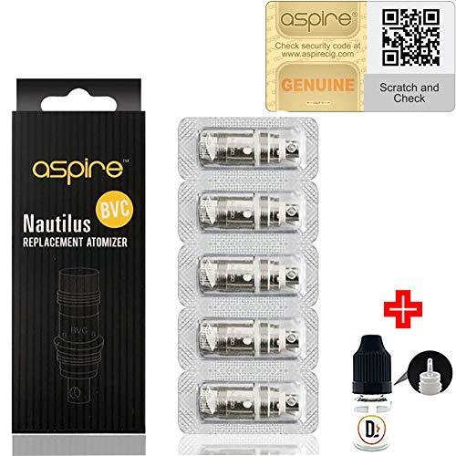 Preisvergleich Produktbild [100% ORIGINALPRODUKT] 5er Pack Verdampferköpfe Aspire Nautilus BVC 1.6 ohm (7-12W) coils + 1 FREI eliquid Leere Flasche 5ml DansLesVapes [OHNE NIKOTIN,  OHNE Tabak] (asp-NAUT-16)