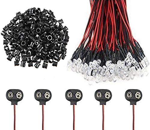 VISSQH 50pcs 5 Colores Ultra Brillante 12V Luces LED de Diodo Pre Cableado, LED precableado Redonda Bulbo lámpara+50Pcs 3mm Plástico Soporte de LED Clip Montaje +5pcs Conector de batería de 9V