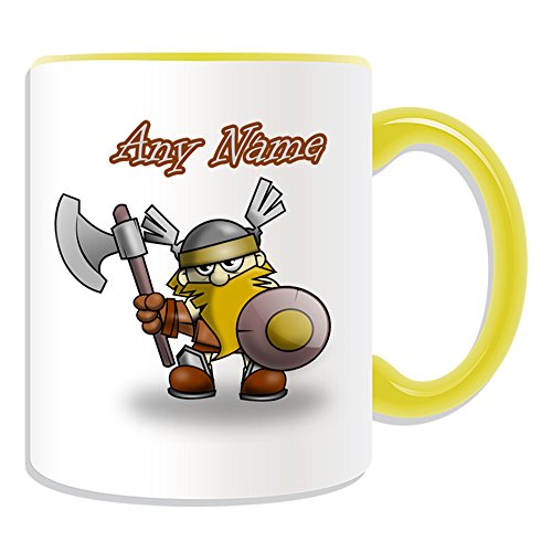 Regalo personaliseitonline Guerrero Vikingo - taza (cuento de hadas del tema, colores) - nombre/mensaje en su único - hacha escudo del casco, cerámica, amarillo