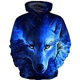 HaniLav Teen Boys' Wolf Fleece Sweatshirts Pocket Pullover Hoodies 5-12Y,Blue Wolf,11-12T