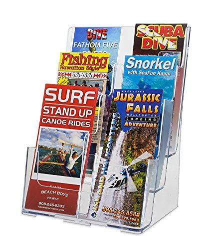 SOURCEONE.ORG 6 Pocket Deluxe 3 Tier Clear Acrylic Brochure Holder Organizer Counter Top or Wall Mount