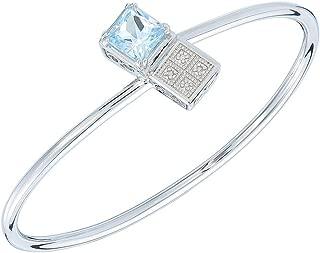 8MM Princess Cut 2 CT Blue Topaz and Diamond Cuff Bangle