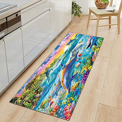 OPLJ 3D Underwater World Küchenmatte Eingang Fußmatte Schlafzimmer Bodendekoration Wohnzimmer Teppich rutschfeste Fußmatte A15 60x90cm