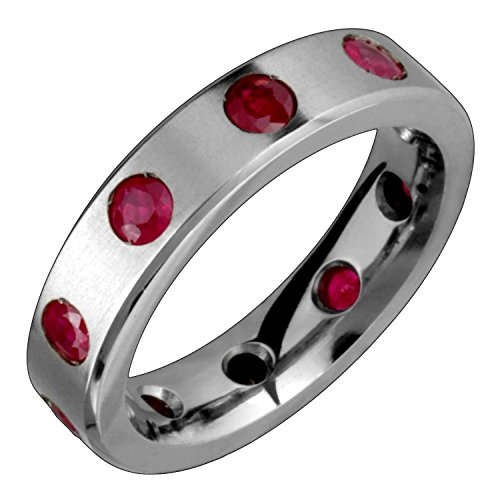 Alain Raphael Rhea Elegant Titanium Ring with Rubies Gemstones Comfort Fit 5mm Wide Engagement Band for Him N Her