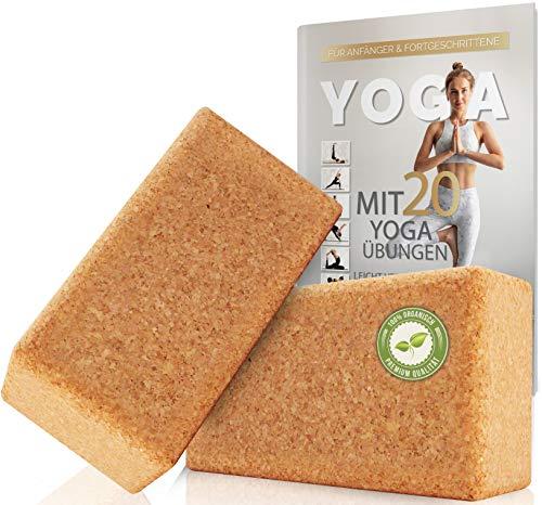 Juego de 2 Bloques de Yoga de Corcho 100% Natural - Hatha Klotz también para Principiantes Meditación y Pilates, Ejercicios de Estiramiento y Entrenamiento de bloqueos, Dos Bloques Pieza 75 mm