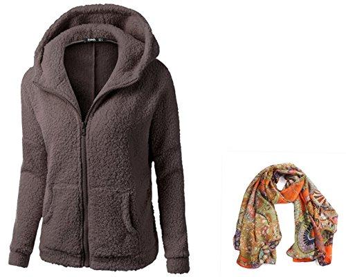 KaiCran Fashion sweatshirt for Women Hooded Sweater Coat Winter Warm Wool Zipper Coat Cotton Coat Outwear (Medium, Coffee)