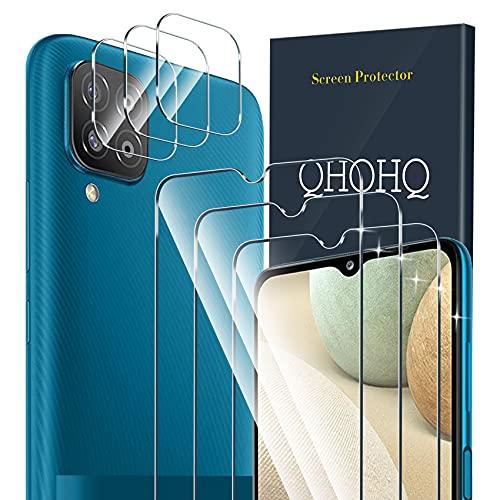 QHOHQ 3 Piezas Protector de Pantalla para Samsung Galaxy A12&M12 con 3 Piezas Protector de Lente de Cámara,Cristal Templado Membrana,9H Dureza - HD - Anti-Arañazos - Sin Burbujas - Fácil de Instalar