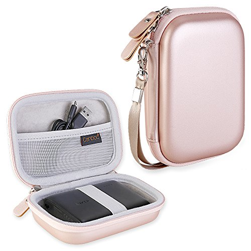 Canboc Hard Carrying Power Bank Case for Anker PowerCore 13000 Portable Charger - Compact 13000mAh 2-Port Ultra Portable Phone Charger External Battery Storage Travel Pouch Double Zipper, Rose Gold