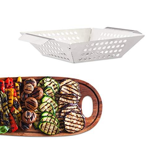 Relaxdays Grillkorb Edelstahl, Gemüsekorb, eckig, rostfrei, antihaft, spülmaschinengeeignet, Größe M: 27 x 20 cm, silber