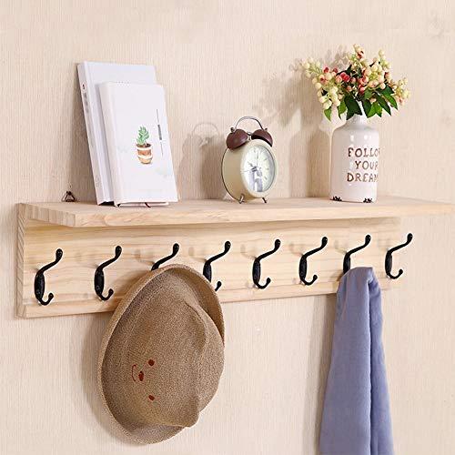 CSQHCZS-JSD Wandhaak, wandkapstok, houten garderobe wandmontage met plank, kledinghoed-sleutel-ophanghaak met dubbele metalen haken ++