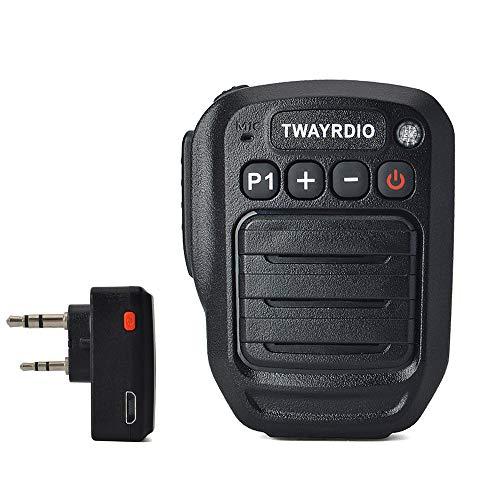 TWAYRDIO Walkie Talkie Bluetooth Microphone Speaker with 2 Pin Mic Jack Bluetooth Adapter for Baofeng UV-5R BF-F8HP UV-82 UV-82HP Kenwood Handheld Radio