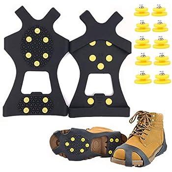 seawang Crampons antidérapants avec 10 Crampons pour Chaussures Neige Grips Crampons Crampons Pointes avec 10 Pics de Neige de Rechange-Protection antiglisse-Unisexe (M)