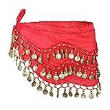 LUOEM Cinturón de danza del vientre para mujer, de gasa, con monedas, para danza del vientre, rojo, 146 x 25 cm