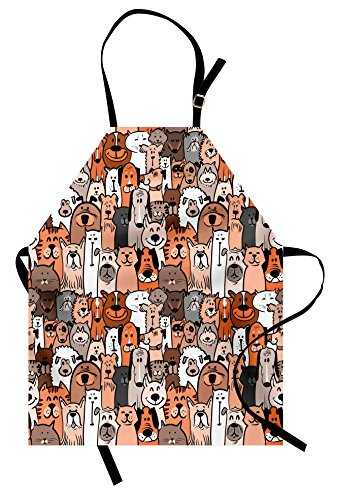 Lunarable Animals Apron, Pattern of Pet Cats and Dogs Doodle Style Art Cartoon Style Retro Domestic Animals, Unisex Kitchen Bib with Adjustable Neck for Cooking Gardening, Adult Size, Brown Grey