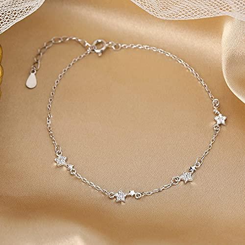 Pulsera Pulsera Y Brazalete con Dije De Estrella De Cristal De Plata De Ley 925 para Mujer, Joyería Elegante De Plata para Bodas