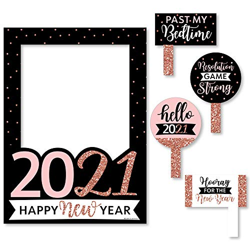 Big Dot of Happiness Rose Gold Happy New Year - 2021 New Years Eve Party Selfie Photo Booth Picture Frame and Props - Printed on Sturdy Material