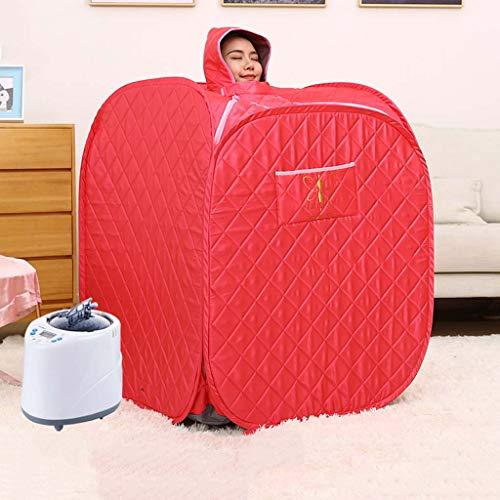Infrarot-Saunaofen für Saunaofen - 80 × 80 × 100 cm Tragbare Dampfsauna 1000 W, 1-9 Gang-Temperatureinstellung Elektronisch gesteuert, mit drahtloser Fernbedienung,Red