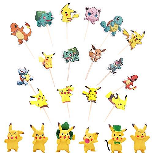 WENTS Tortendeko Geburtstag 78PCS Pokémon Tortendeko Geburtstags Cake Topper mit Pikachu Figuren Party Kuchen Dekoration Lieferunge für Kinder Geburtstag Baby Mädchen Junge