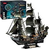 Puzzle 3D Boat Pirate Mejora versión 2021, Barco Negro Pearl Caribbean Pirate 68cm,1:95 Barco de Perla Negra Realista con Kit LED Modelo, Adulto