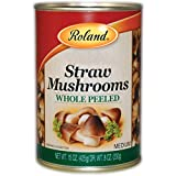 Roland Foods Canned Peeled Straw Mushrooms, Specialty Imported Food, 15-Ounce Can 8 Pack