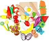 Joqutoys Wooden Cutting Cooking Play Food Toy, Pretend Play Kitchen Set for Kids, Magnetic Wood Fruit Vegetables Fruits, Early Educational Learning Gift for 3, 4, 5, 6 Year Old Boys Girls