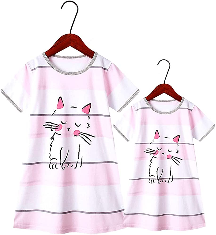Mommy and Me Nightdress Family Matching Cute Cartoon Print Short Sleeve Mother Daughter Outfits