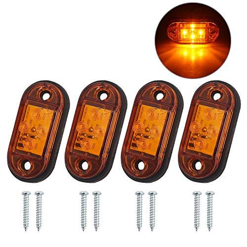4 x 4LED Seitenleuchten Wasserdicht IP68 E-Mark mit Schrauben Gummimatte Seitenmarkierungsleuchten Lampen Universal Indikatoren der Position 12V 24V Bernstein für LKW Anhänger Van Caravan Auto Bus