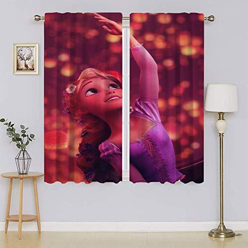 lacencn Frozen 2 cortinas de ventana Elsa, aislamiento térmico y ruido eficiente de energía para cortinas de ventana de guardería de 55 x 63