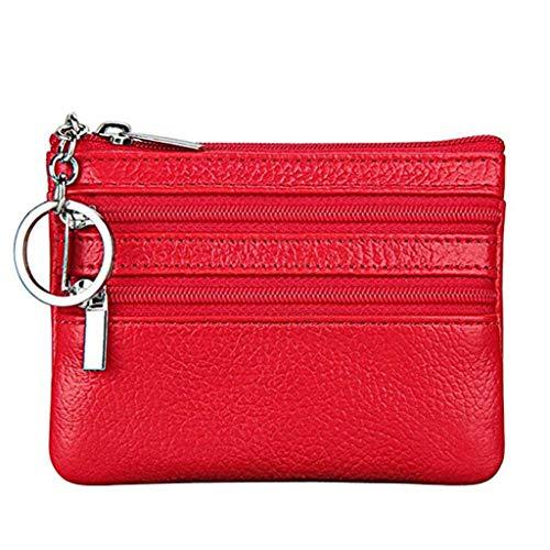 Cartera Monedero Pequeñas Piel Genuino Slim Portatarjetas Mini Cremallera con Ilavero para Mujer (Rojo)