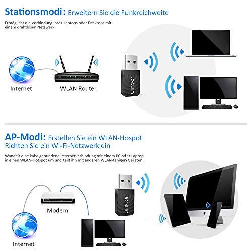 JOOWIN WLAN USB Adapter, 1300Mbit/s Dualband WLAN Stick (867Mbit/s (5GHz), 400Mbit/s (2,4GHz) USB 3.0 WiFi Adapter unterstützt Desktop/Laptop Windows 7/8/8.1/10/XP, MAC 10.9-10.14
