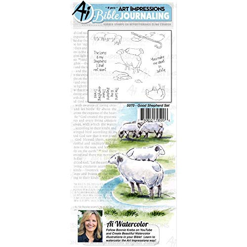 Art Impressions Bible Journaling Watercolor Rubber Stamps-Good Shepherd