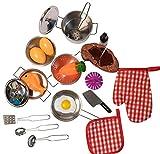 JoyKip Cocina, Juego de simulación, Juguetes, Accesorios con Utensilios de Cocina de Acero Inoxidable, Juego de ollas y sartenes, Juguete en Miniatura para niños y niñas de 3 años +