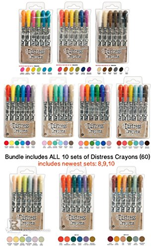 Tim Holtz Bundle of 60 Distress Crayons | All 10 Sets | Set 1, 2, 3, 4, 5, 6, 7, 8, 9, 10