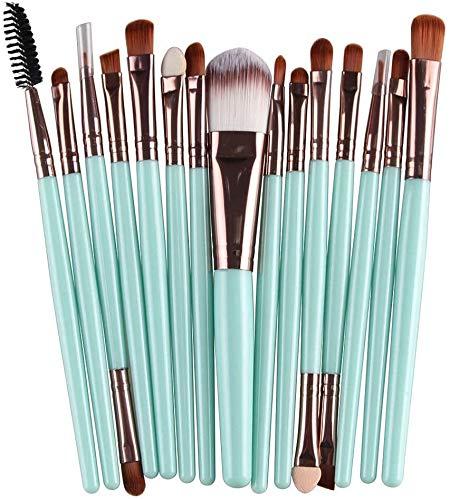 WLYX 15 pc pinceau de maquillage multi utilisation de laine minérale cosmétiques Brosses poignée en plastique visage Blending Brosses Turquoise