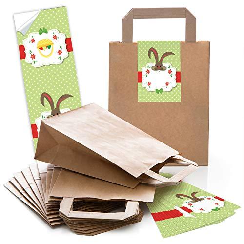 Logbuch-Verlag 10 kleine braune Verpackung Henkeltüte Papiertüte mit Griff 18 x 8 x 22 cm + Osteretiketten 7,2 x 21 cm Ostern Geschenktüte Sticker Aufkleber weiß rot Give-Away grün Osterhase