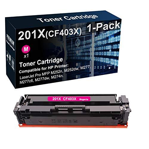 Cartucho de tóner compatible 201X CF403X para impresora láser (magenta) utilizado para impresoras HP LaserJet Pro MFP M252dw M277 M277c6 M274n (alto rendimiento)