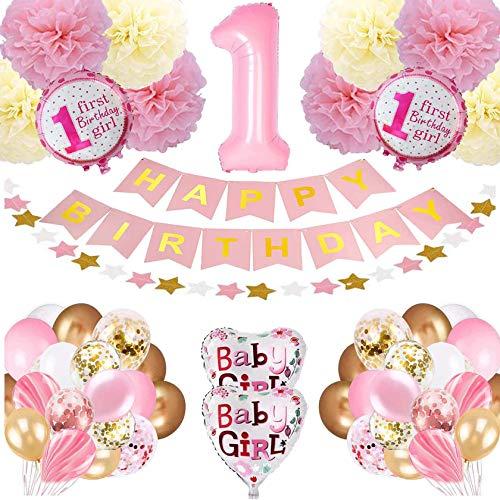 Bellatoi Geburtstagsdeko Geburtstag Ballon, 1. Geburtstag Dekoration Set für Mädchen,Happy Birthday Girlande Ballons Banner ,Pompoms Blumen,Konfettiballons, Latexballons
