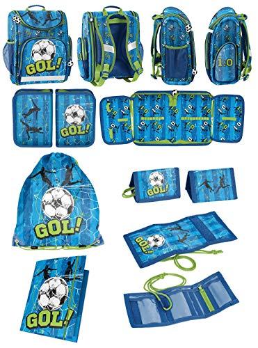 Scoolstar Schooltas voor jongens, 1 klasse tornister, schoolrugzak, zeer licht, 5-delig | Incl. etui, opbergdoos A4, sporttas, portemonnee