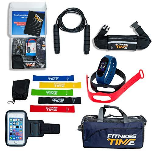 Fitness Set mit Fitnessuhr, 3 Armbändern in den Farben Schwarz, Rot und Blau, Loopbänder in 5 Zugstärken, ein Springseil, Bauchtasche, Schultertasche, Fitnesstasche und Fitness Time Book